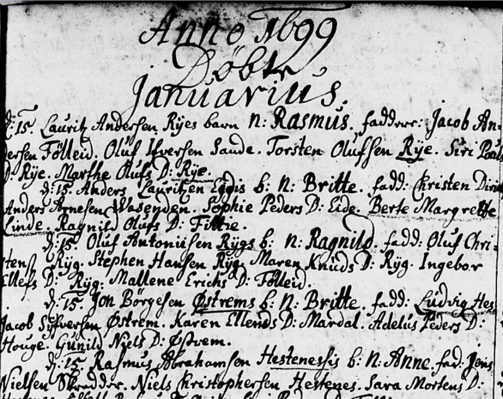 Ministerialbok Gloppen 1699